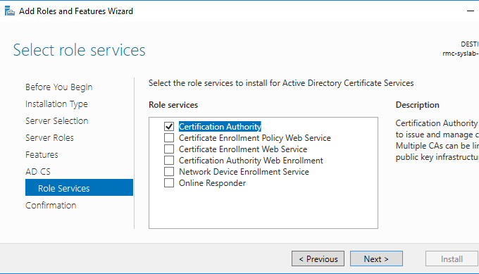 Active Directory Certificate Services Installation
