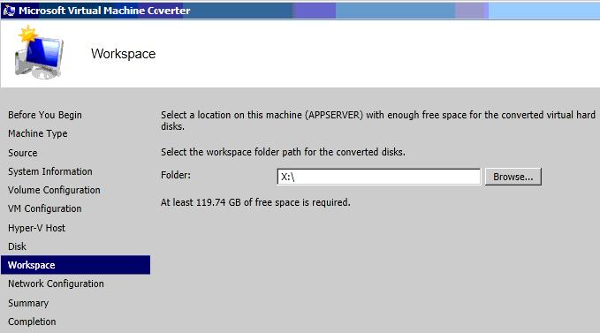Convert Physical Server to Hyper-V using Virtual Machine