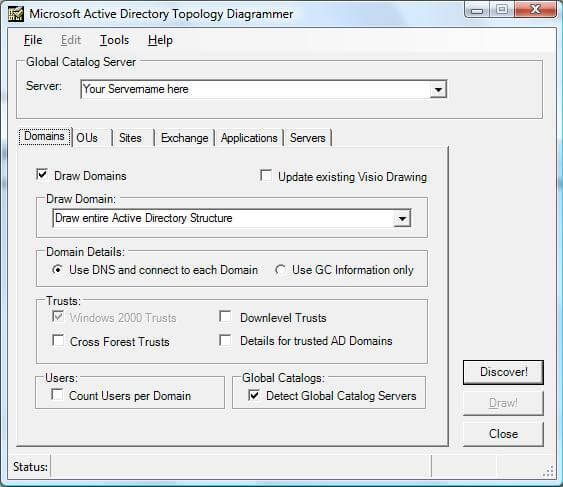 in order for the tool to do a active directory discover you need to  configure the tool to point to a global catalog server in the environment
