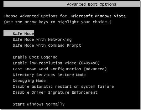advanced boot options