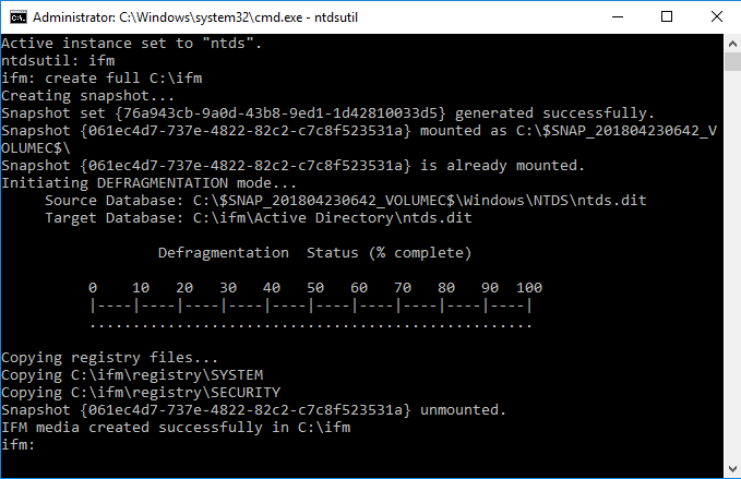 How to Perform an Active Directory Install from Media (IFM)