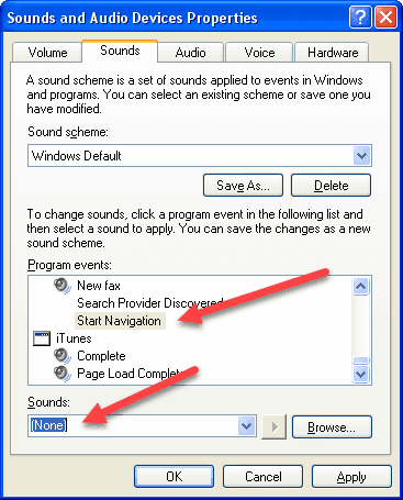 Howto: Disable the clicking sound in Internet Explorer and