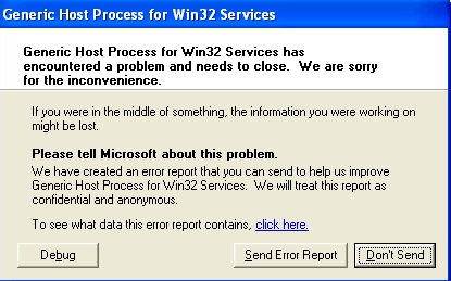 fix generic host process for win32 services has encountered a problem