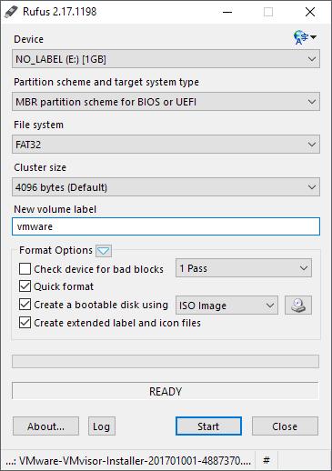 Create Bootable USB Drive for VMware ESXi Installer