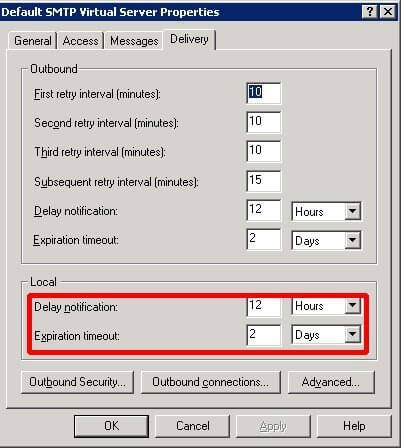 SMTP Virtual Server Delivery Settings